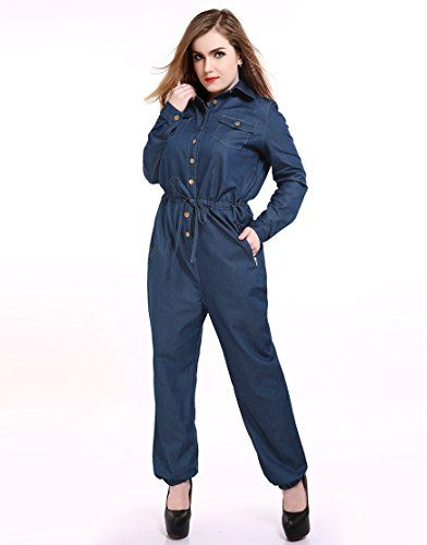 2516d1ed4eee5 Women s Plus Size Denim Jumpsuits Long Sleeve Casual Denim Rompers Denim  Jeans (US12W