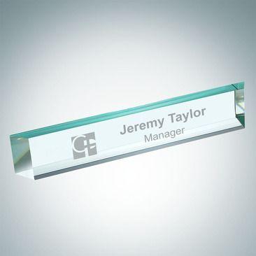 engraved slant beveled jade glass desk nameplate the 3 4 thick
