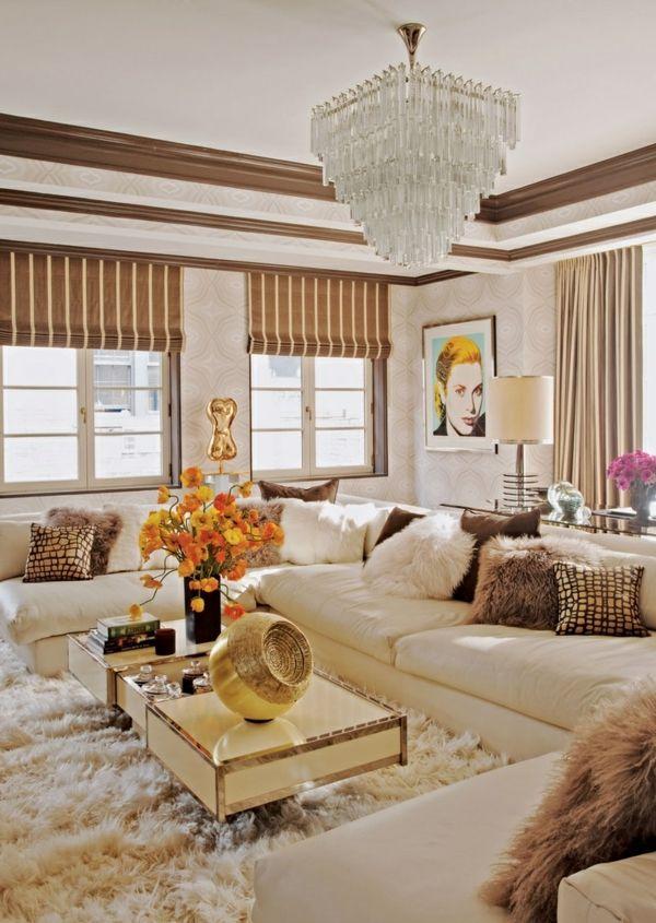 Wunderbar Modernes Gemütliches Wohnzimmer Weicher Teppich Raffrollos