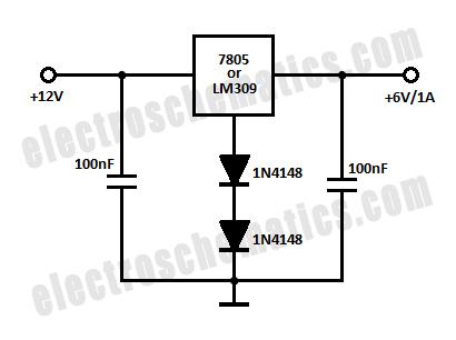 12v to 6v converter circuit schematic diy pinterest rh pinterest com