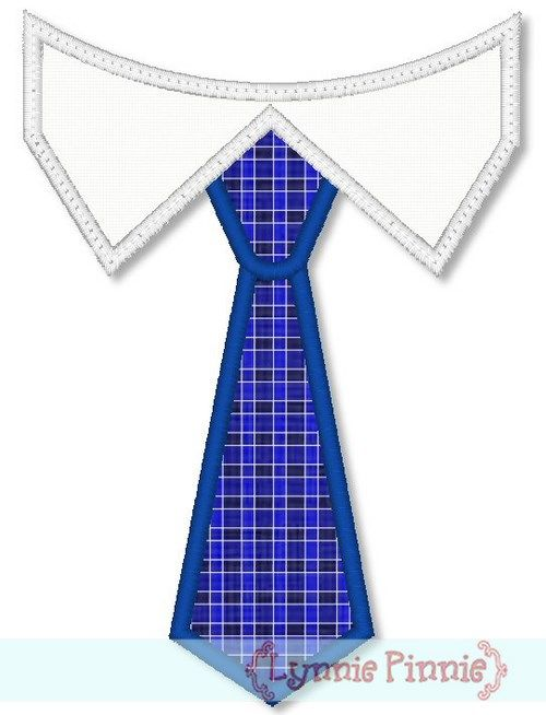 Tie With Shirt Collar Applique 4X4 5X7 6X10  Embroidery -4368