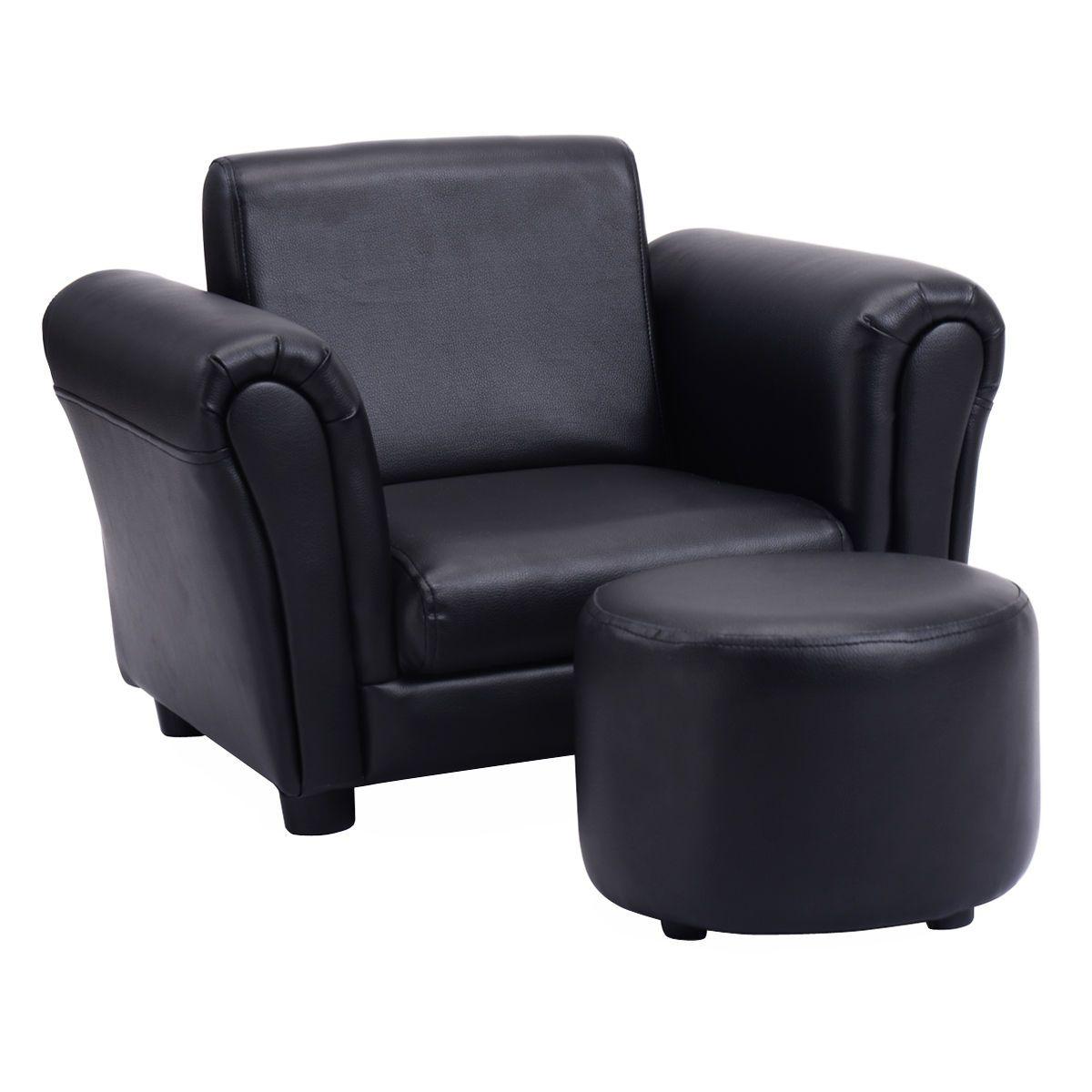 Black Kids Sofa Armrest Chair Couch Children Toddler Birthday Gift W Ottoman Kids Sofa Kids Sofa Chair Kids Chairs