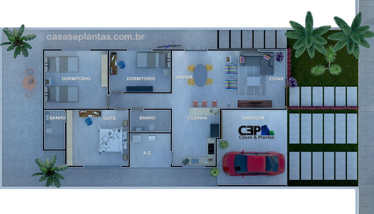 Favoritos planta baixa casa com laje sem telhado | Projetos e Fachadas  XE85