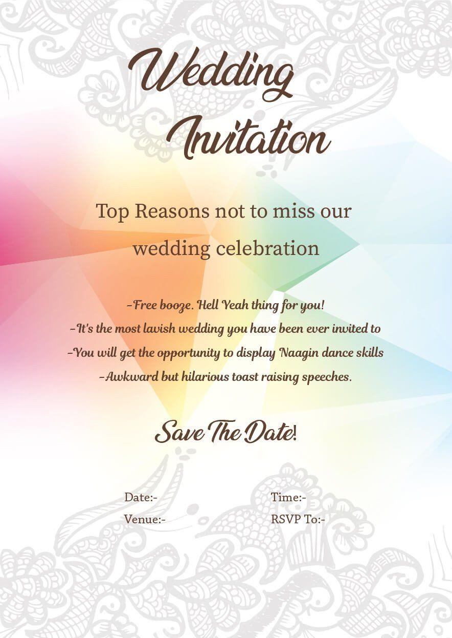 Funny Wedding Invitation for Friends Luxury Wedding