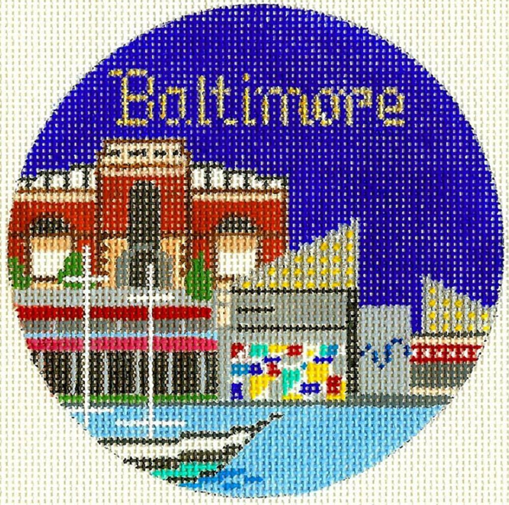 """MARYLAND  handpainted 4.25/"""" Rd Needlepoint Canvas by Silver Needle BALTIMORE"""