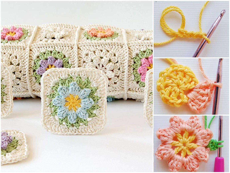 Spring Crochet Flower Granny Squares Pattern   Denenecek projeler ...
