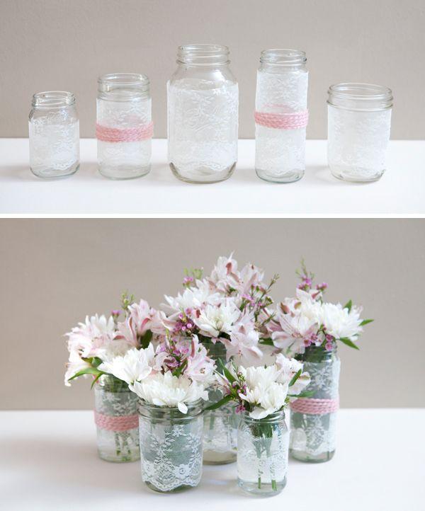 How To Make Diy Lace Covered Mason Jars Diy Crafts Wedding