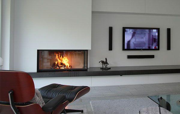 Umsetzung u2013 Eckkamine u2013 Galerie Harry Thiele - der Ofenarchitekt - moderne wohnzimmer mit galerie