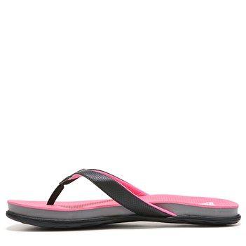 black and pink flip flops