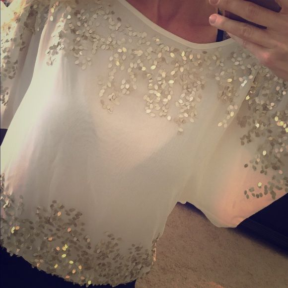Cache sheer cream gold sequin dolman sleeve top XS Sheer but just need a nude bra. I was too lazy to change my bra for the pics. So cute. The sequins are a muted gold and so pretty. Excellent condition. No sequins missing that I can see Cache Tops Blouses