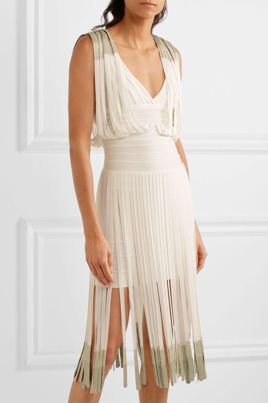 Hervé léger fringed dégradé bandage dress fashion lust