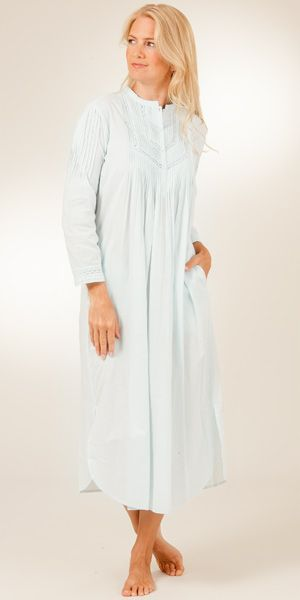 8d8320bd58 La Cera Cotton Nightgowns - Long Sleeve in Pintucking Delight - Blue ...