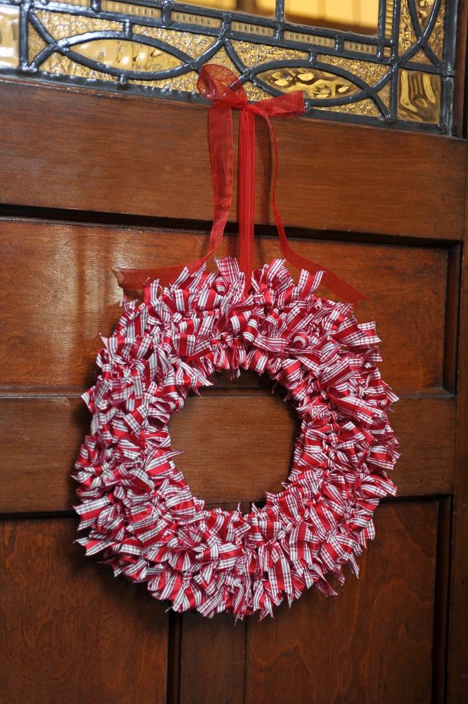 Christmas Ribbon Wreath Made with ribbons and a wire wreath ring