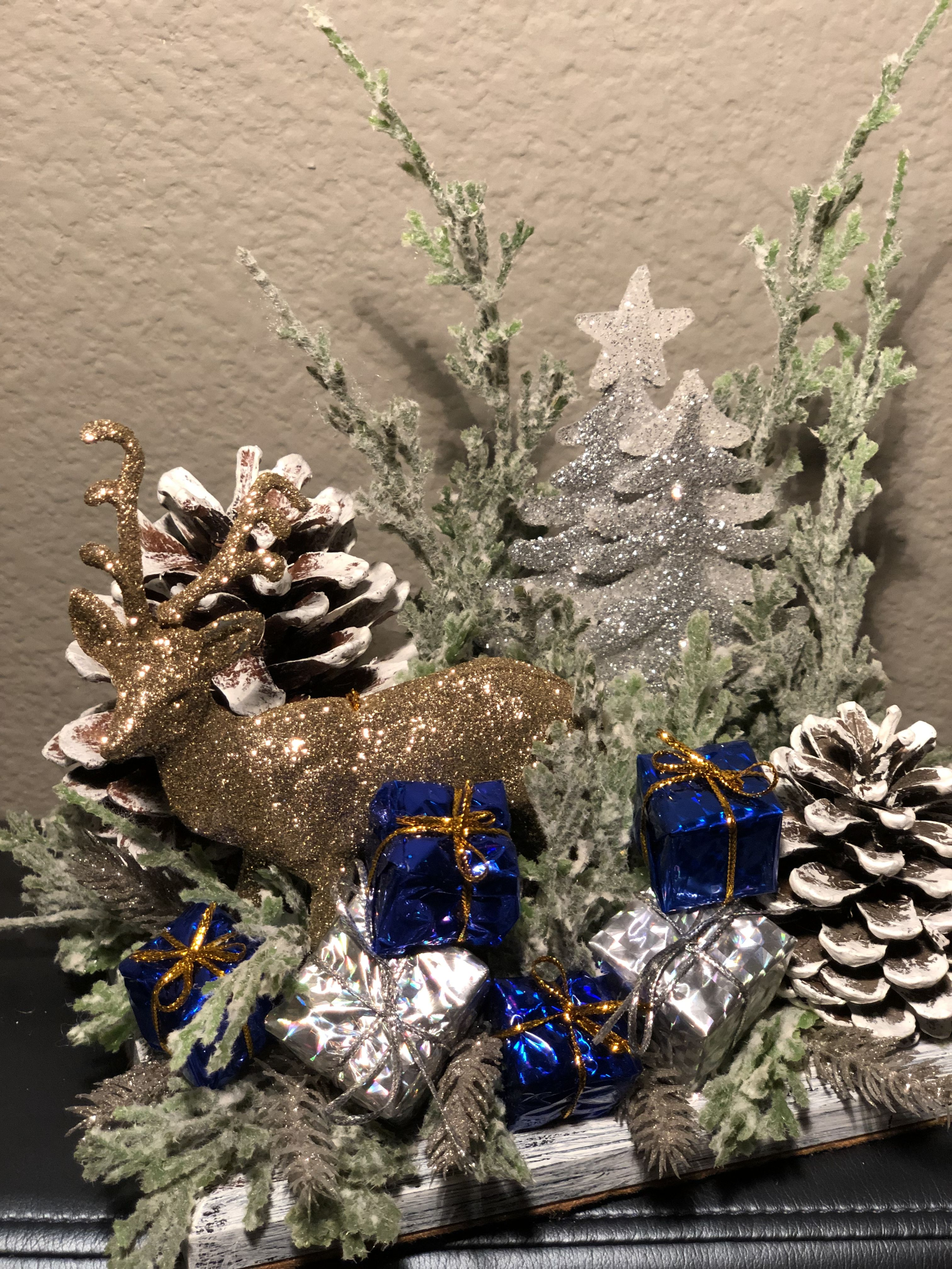 Gold Deer With Blue And Silver Accents In The Forest Country Christmas Decorations Christmas Centerpieces Christmas Table Decorations
