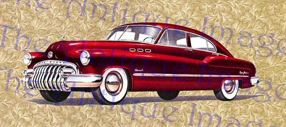 Car Digital Download Vintage Car Clip Art 1950 Buick Red Coupe