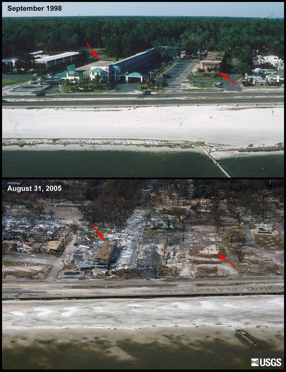 Katrina Biloxi Before And After Before And After Photos Showing An Area Where The Only Structure Left Mississippi Vacation Hurricane Katrina Photo