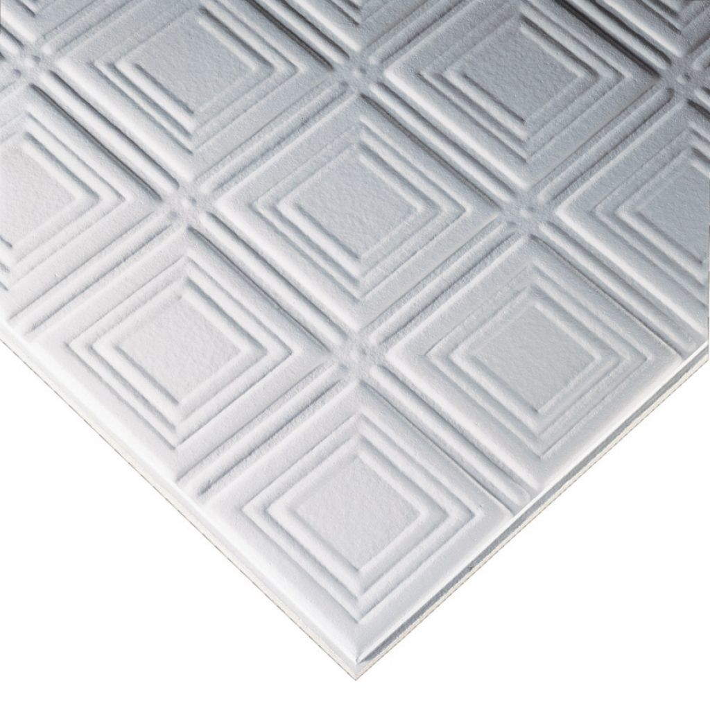 Patterned drop ceiling tiles httpcreativechairsandtables armstrong tincraft white patterned drop acoustic panel ceiling tiles common x actual x dailygadgetfo Gallery