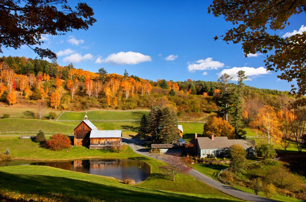 This quaint town is home to many small town gems—from the Marsh-Billings-Rockefeller National Historical Park to the Woodstock Farmer's market—that will ensure you have a fun getaway while surrounded by vibrant fall colors.  For more information, visit Woodstockvt.com.