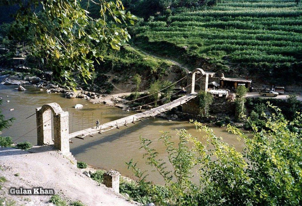 Pakistan A Small Bridge Over Sindhu Darya Indus River At Gilgit