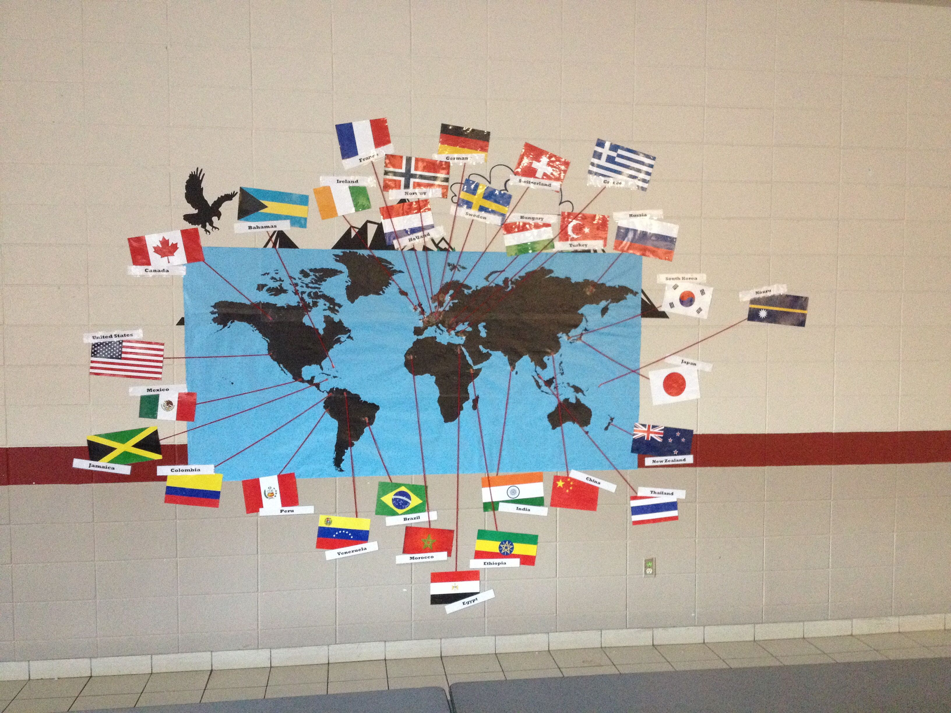 Huge vinyl world map with flags of countries chosen for huge vinyl world map with flags of countries chosen for international night attached gumiabroncs Choice Image