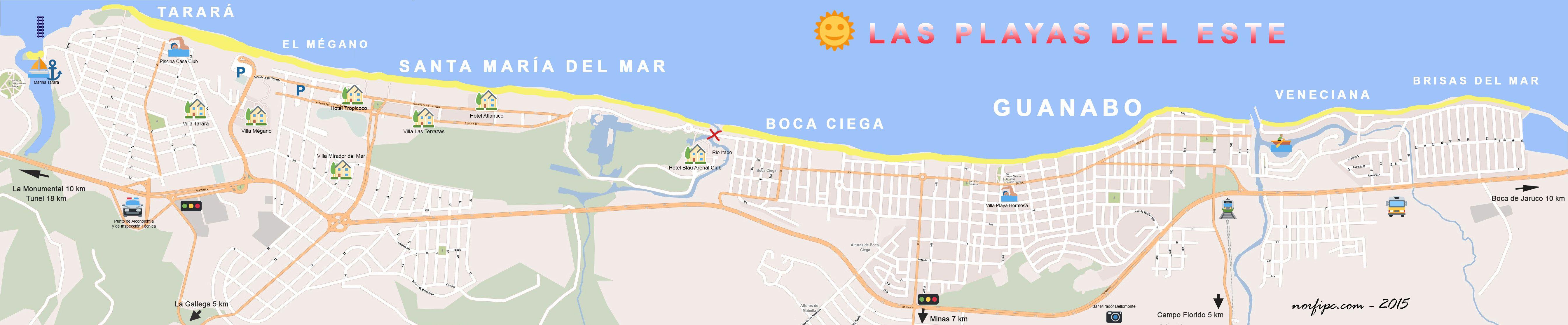 Mapa de las Playas del Este de la Habana Tarar el Mgano Santa