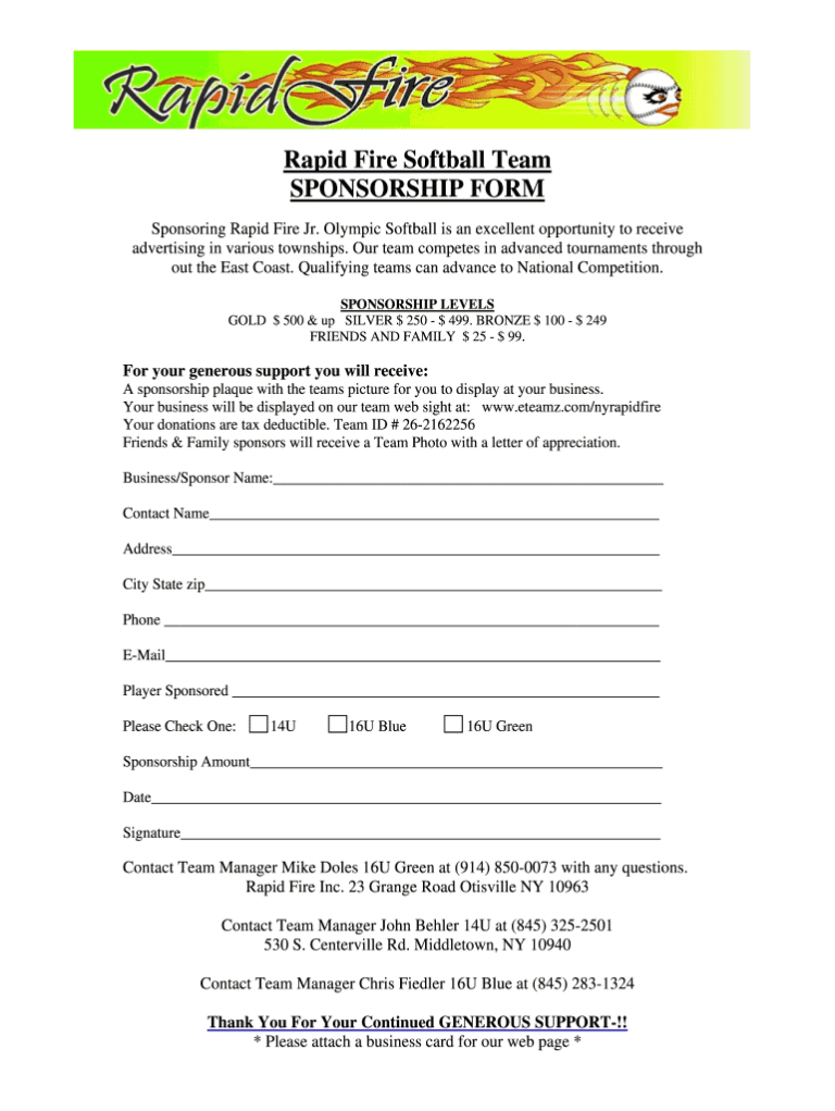 Softball Sponsorship Form Fill Online Printable Fillable Throughout Blank Sponsor Form Sponsorship Form Template Sponsorship Levels Professional Templates