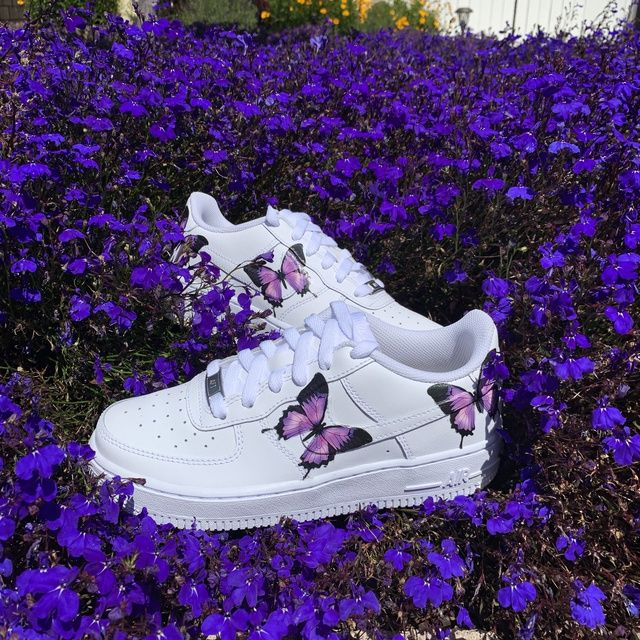 Purple Pinkish Butterfly Airforce 1 by customxunion in