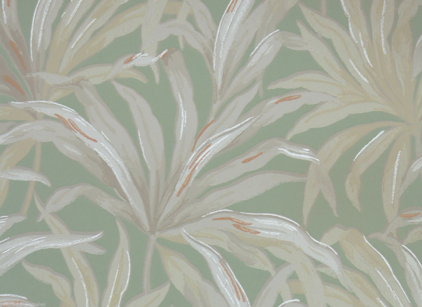 1940s Vintage Wallpapertropical Leaf Green and White