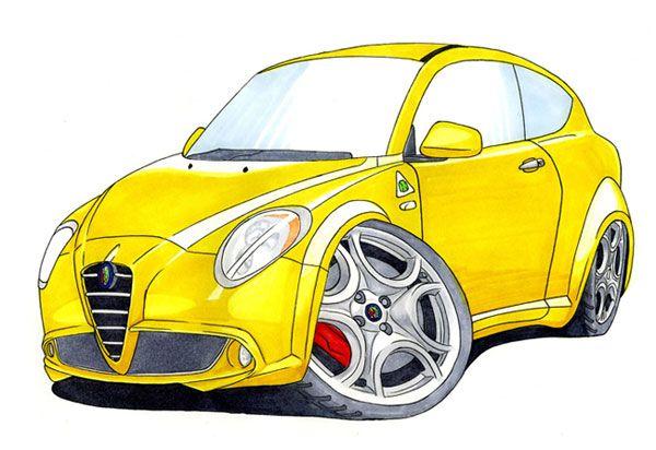 Alfa Romeo MiTo Caricature Car Art Print