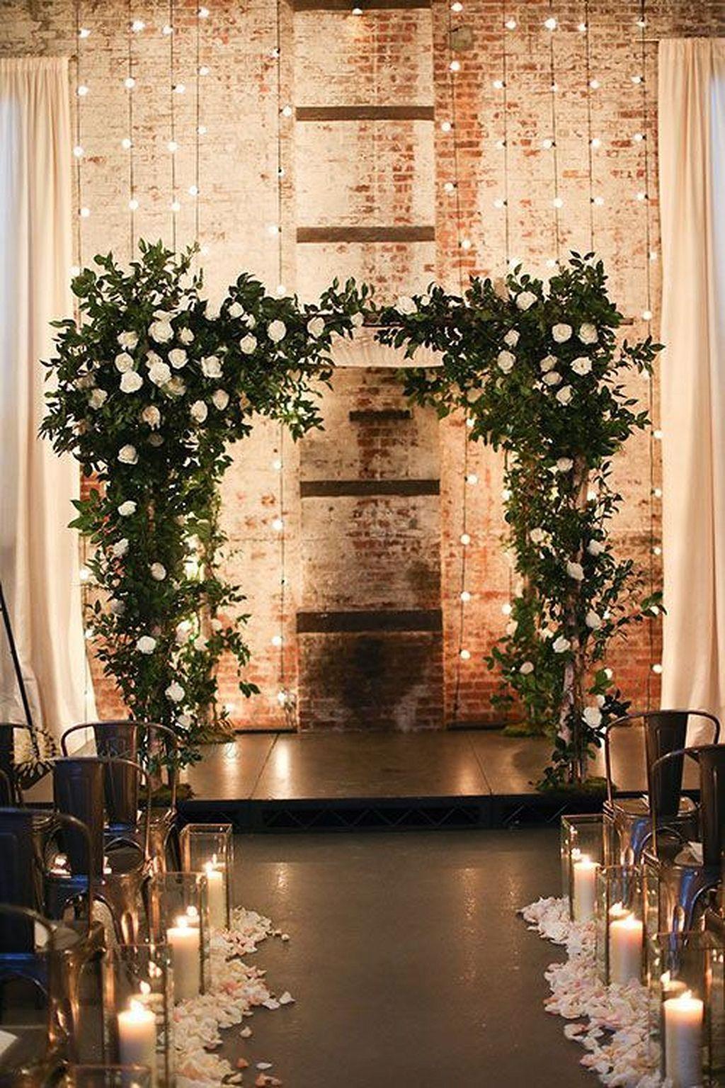 Indoor Rustic Wedding Altar
