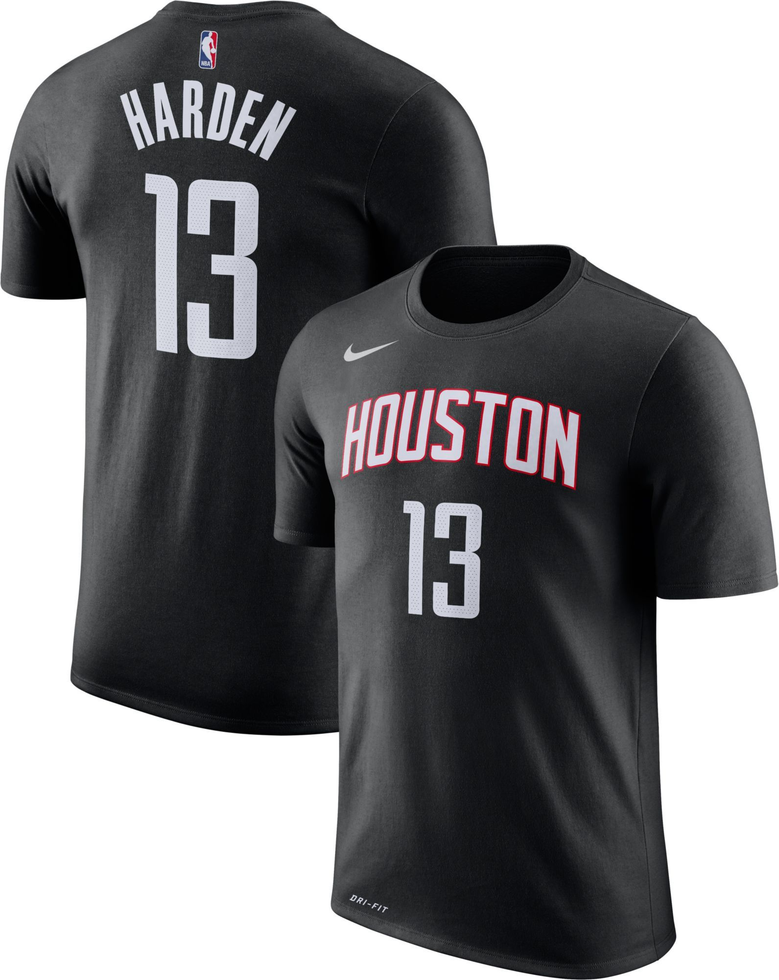 e10bca29a Nike Youth Houston Rockets James Harden  13 Dri-FIT Black T-Shirt ...