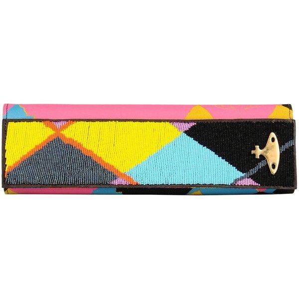 Master&muse X Vivienne Westwood Ethical Fashion Handbag ($245) ❤ liked on Polyvore featuring bags, handbags, clutches, fuchsia, colorful purses, multi colored leather handbags, real leather handbags, blue leather purse and fuschia handbag