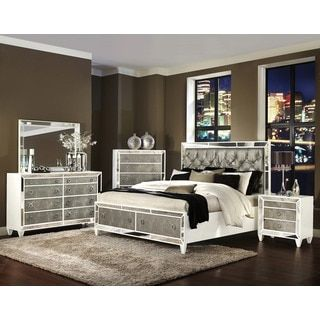 celine 5 piece mirrored and upholstered tufted queen size bedroom rh pinterest com
