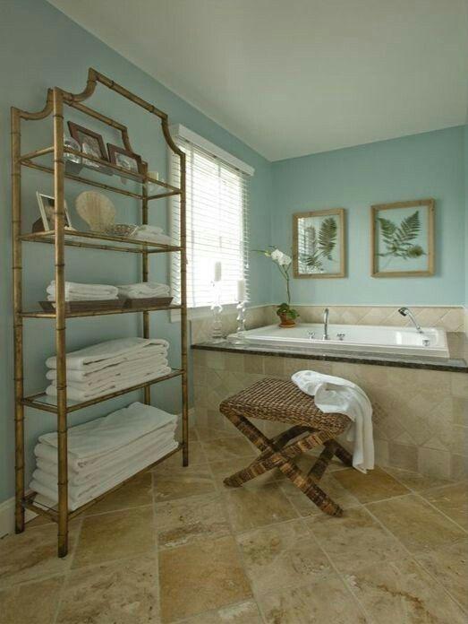 Robins egg blue aqua bathroom, travertine floor, window ...