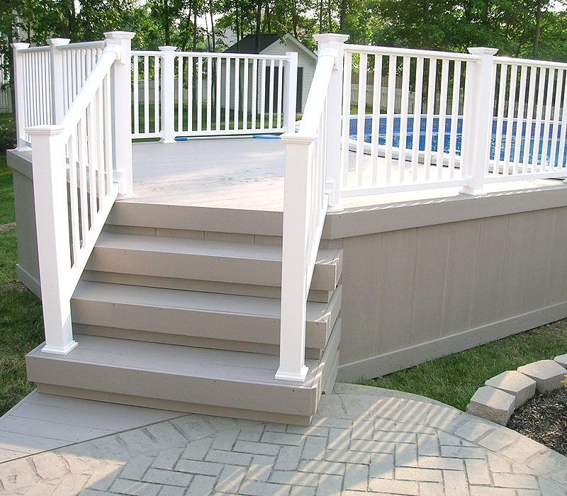 Composite Deck With Vinyl Railing By Elyria Fence | Above ...