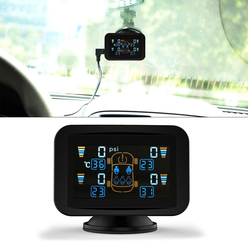 CARCHET TPMS LCD Tyre Pressure Monitoring System+4 External Sensors with Sucker