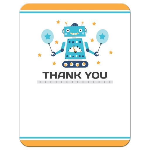 Retro robot birthday party thank you card flat notecard a cute flat thank you note card featuring a little retro robot dark gray filmwisefo Gallery