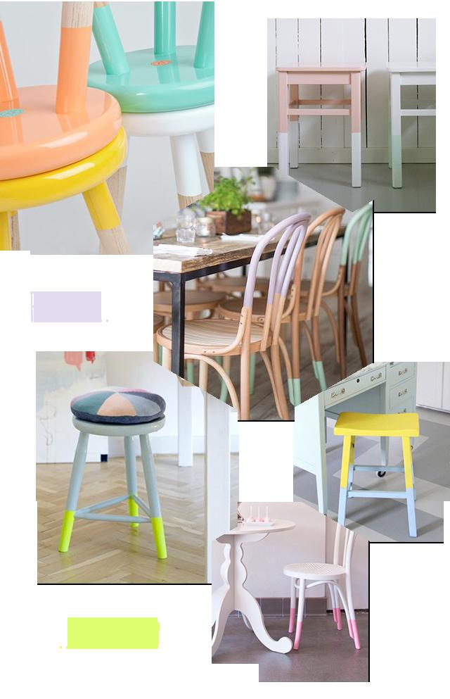photo avec chaises jaunes en plastique et boite de peinture