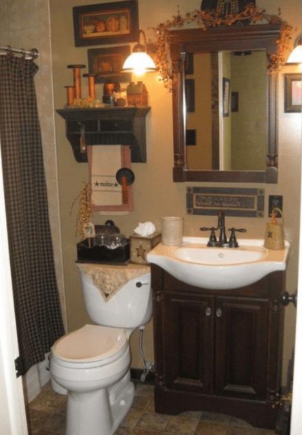 25 Ways To Decorating Your Bathroom With Fall Theme Eweddingmag Com Primitive Bathroom Decor Primitive Bathroom Bathroom Decorating Shower Curtain