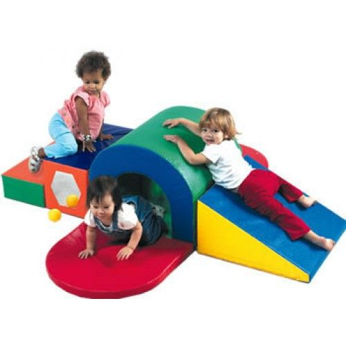 FDP SoftScape Playtime Step and Slide Climber for Infants and Toddlers Crawling Colorful Beginner Soft Foam Structure for Indoor Active Play Climbing Sliding