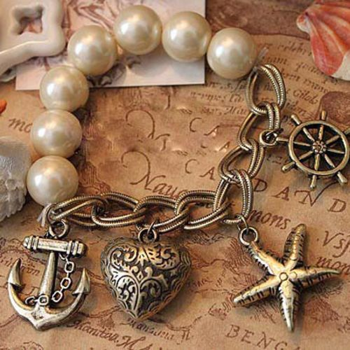 Women-Vintage-Retro-Pearl-Stretch-Heart-Charm-Anchor-Rudder-Bracelet-New-Bangle