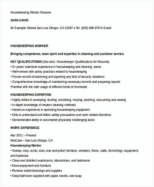 Example Of Housekeeping Resume Housekeeping Worker Resume Template  House Manager Resume  Do You .