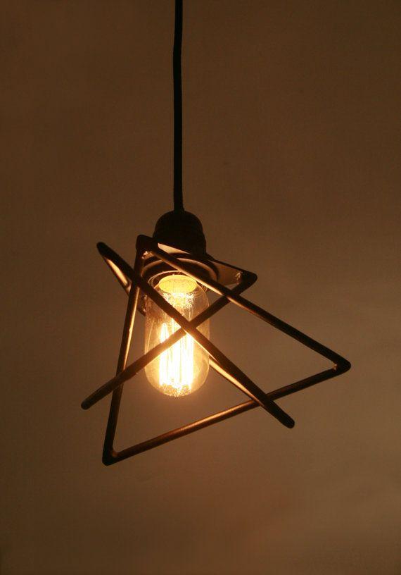 Petite Lampe Suspension Triangles Imbriques Metal Noir Led Light
