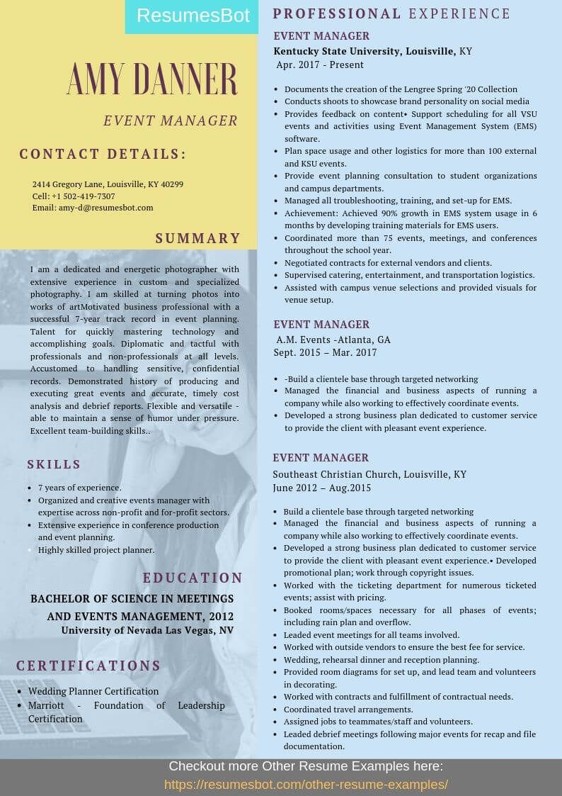 Event manager resume samples templates pdfdoc 2019