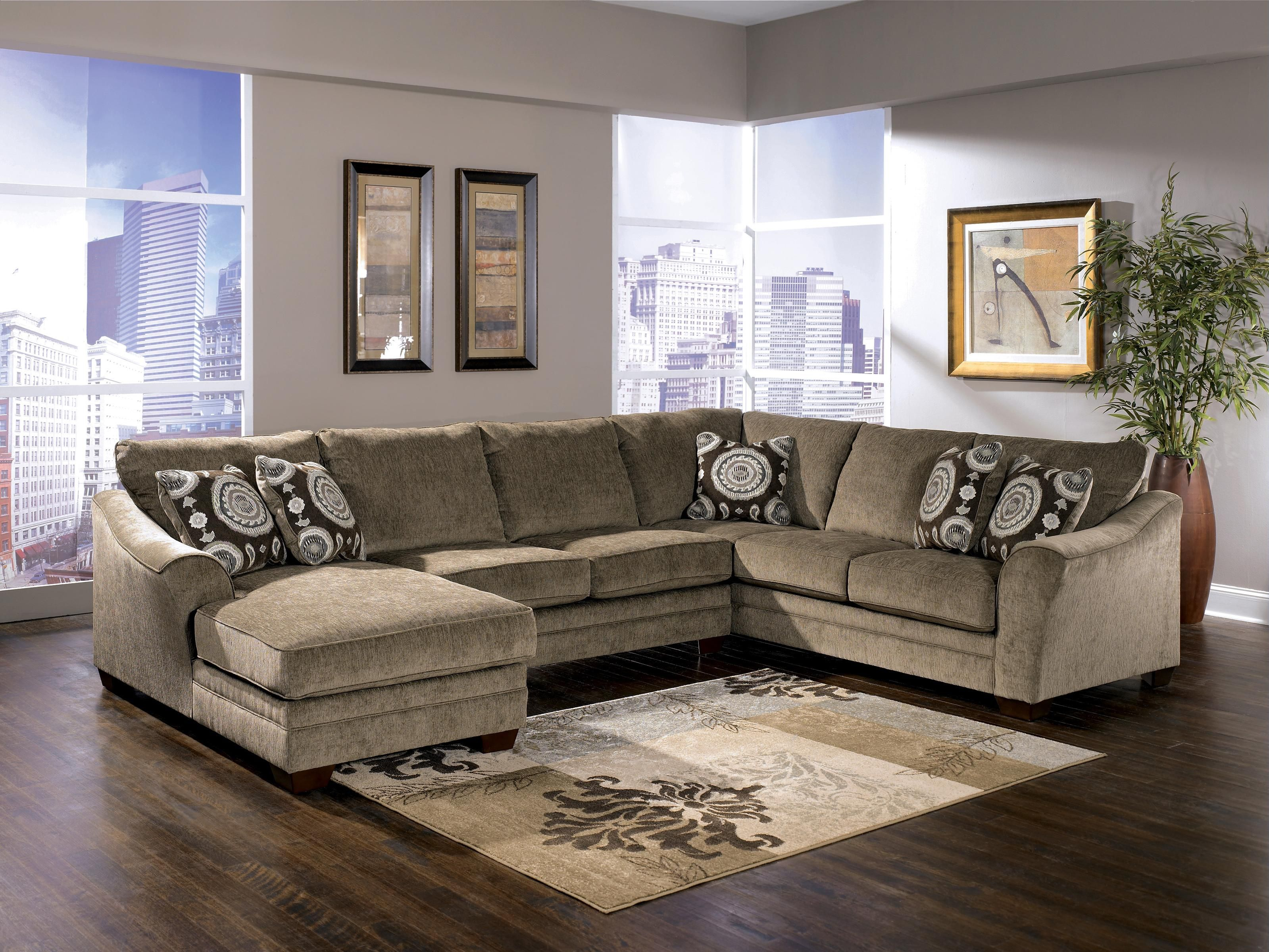 Signature Design By Ashley Cosmo Marble Sectional Sofa With Chaise Lounger Sectional Living Room Sets Sectional Sofa With Chaise Sectional Sofas Living Room