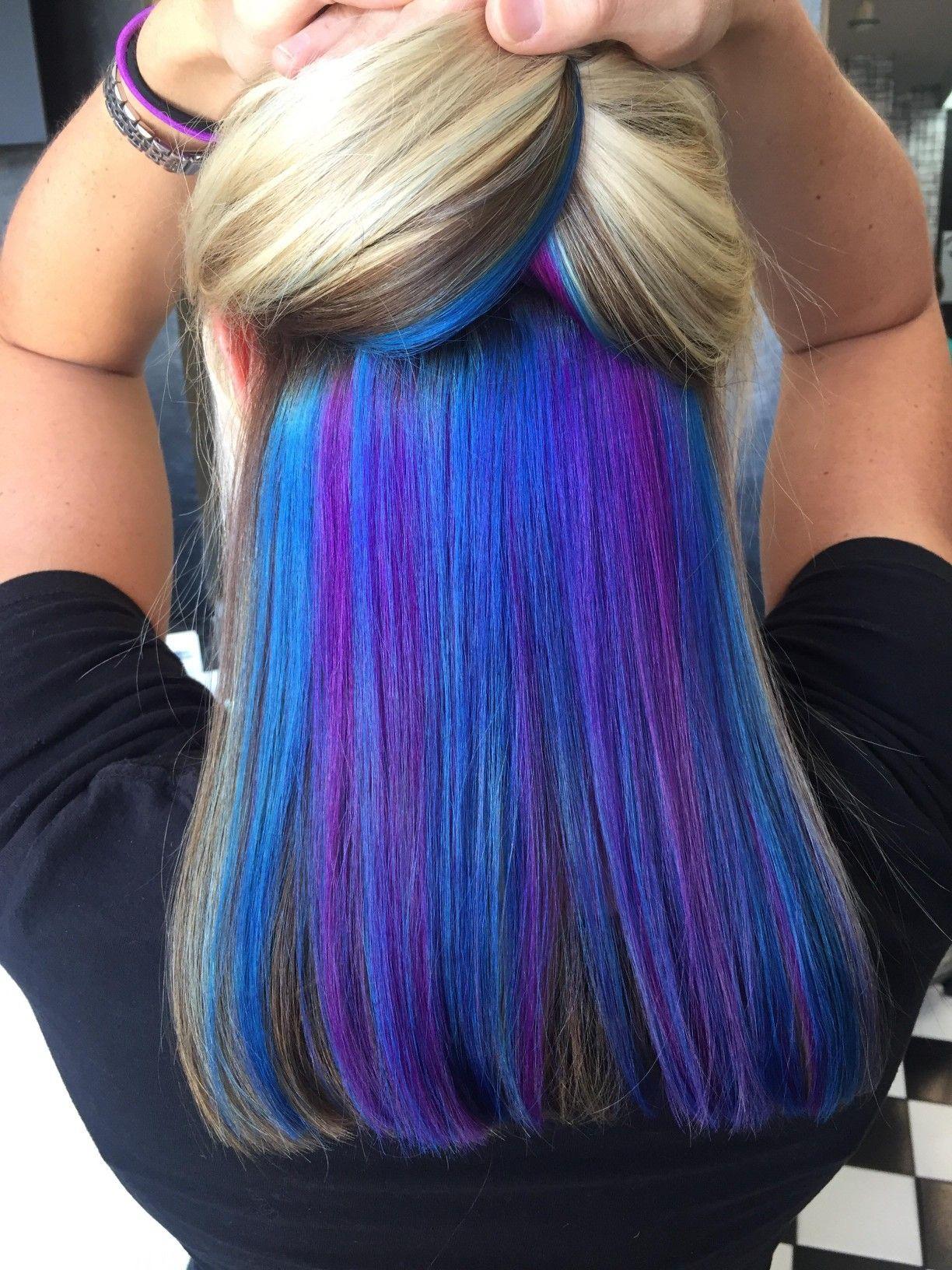 Peekaboo Blue Purple Hidden Hair Color Bright Hair Colors