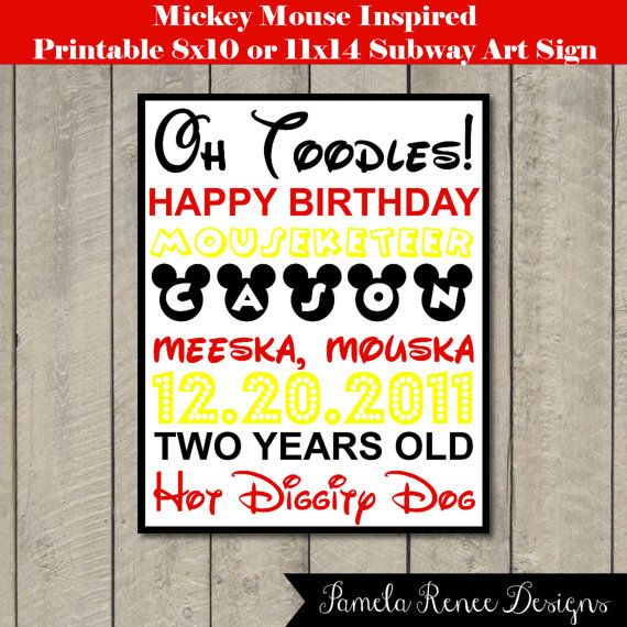 Personalized Mickey Mouse Inspired Subway Art Sign by PamelaReneeDesigns, $5.00. Printable DIY.