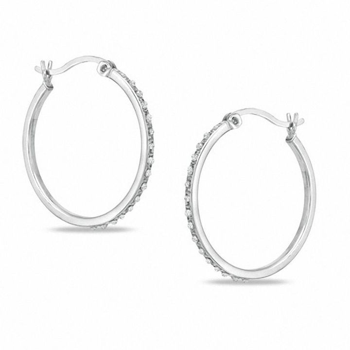 Zales Diamond Fascination Inside-Out Hoop Earrings in Sterling Silver with Platinum Plate cp8Ems