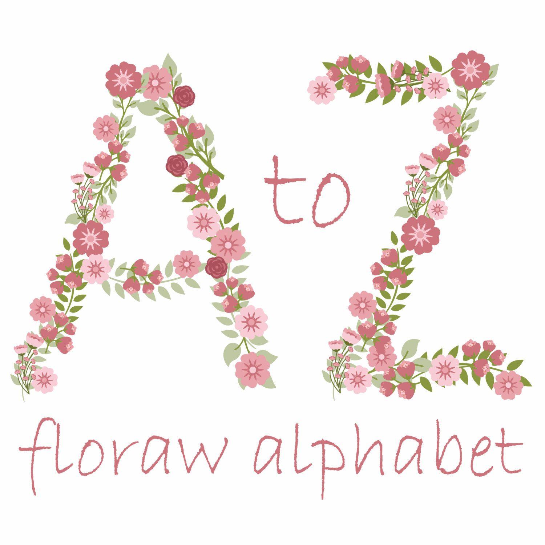 Flower Alphabet Clipart Pink Floral Letters Flower Monogram Pink Flower Alphabet Floral Clipart Alphabe Flower Clipart Wedding Monogram Letters Flower Alphabet