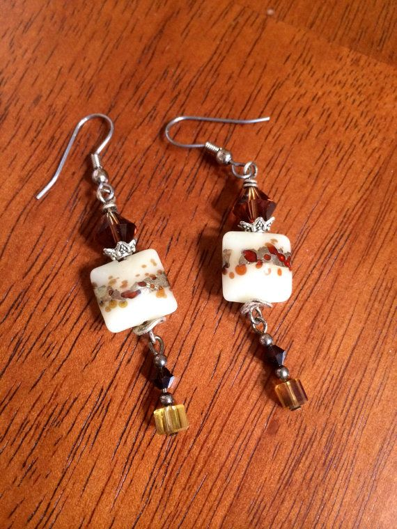 Artisan crafted lamp work dangle earrings with by RealBeadDesigns, $10.00